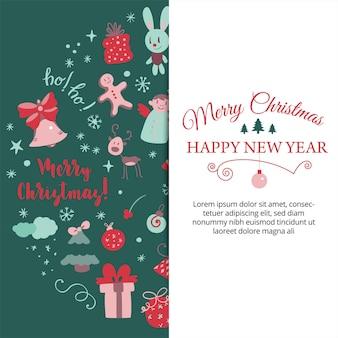 Banner con elementi di design natalizio in stile scarabocchio cartolina di natale vettore