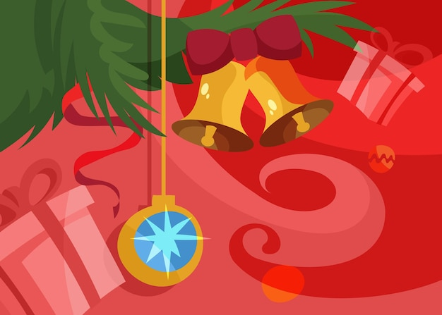 Banner con palla e campane dell'albero di natale. cartello natalizio in stile cartone animato.