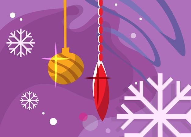Banner con i giocattoli dell'albero di natale. cartolina di vacanza in stile cartone animato.