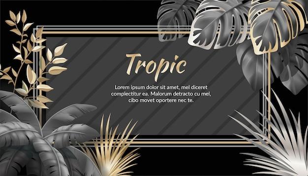 Banner con foglie scure palme e liane.