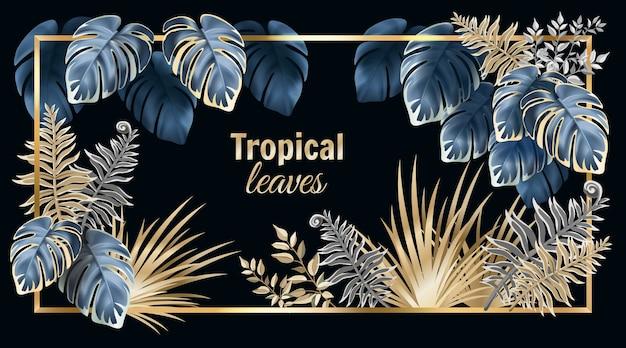 Banner con foglie scure palme e liane