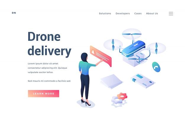 Banner con pubblicità di servizio di consegna drone