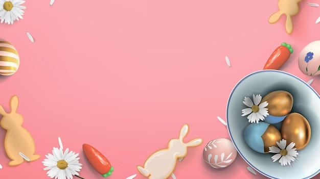 Banner con uova di pasqua in una ciotola di ceramica con fiori e biscotti a forma di lepri
