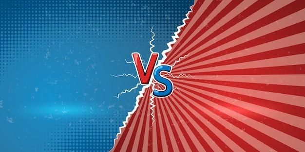 Banner con un annuncio esplosivo di confronto o battaglia. lettere creative vs noi un simbolo di contro su sfondo retrò