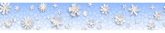 Banner con texture floreale in colori azzurri e grandi fiori di carta bianca con ombre morbide. con ripetizione orizzontale senza soluzione di continuità