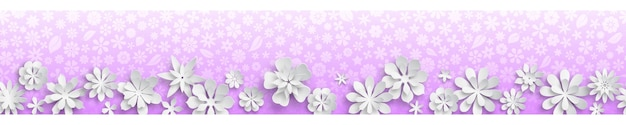 Banner con texture floreale nei colori viola e grandi fiori di carta bianca con ombre morbide. con ripetizione orizzontale senza soluzione di continuità