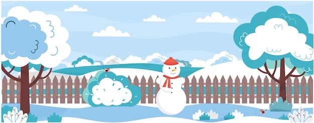 Banner con giardino in inverno alberi cespuglisotto la neve cortile con recinto di pupazzo di neve uccelli