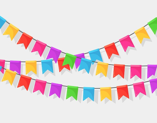 Banner con ghirlanda di bandiere e nastri del festival di colore, pavese su sfondo bianco. decorazione, simboli per celebrare la festa di buon compleanno, carnevale, fiera.