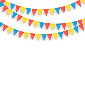 Banner con ghirlanda di bandiere e nastri. priorità bassa del partito di festa per la festa di compleanno, carnava.