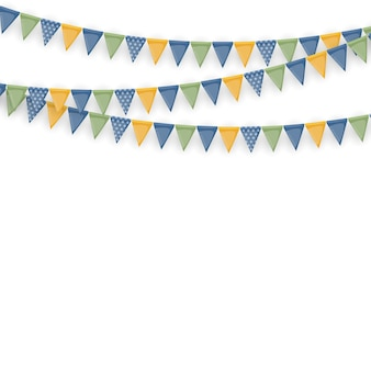 Banner con ghirlanda di bandiere e nastri. fondo del partito di festa per la festa di compleanno, carnevale isolato su bianco.