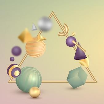Banner con effetto geometrico di forme 3d su superficie sfumata.