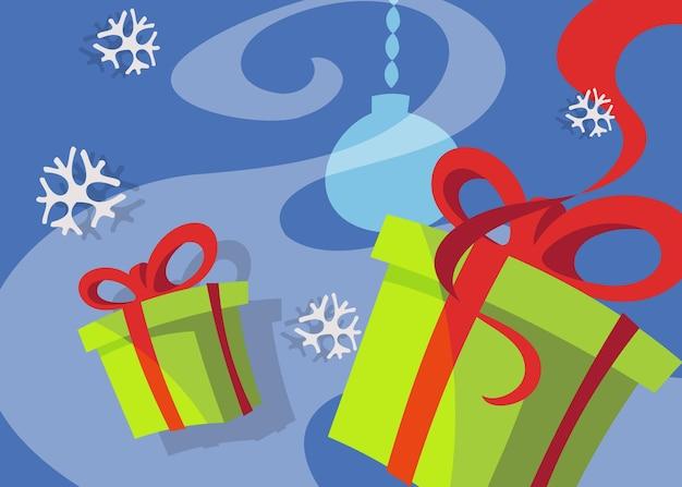 Banner con scatole regalo. cartello natalizio in stile cartone animato.
