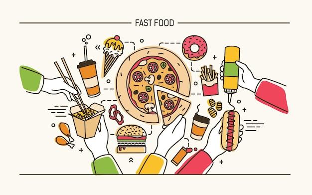 Banner con mani che tengono gustosi pasti fast food