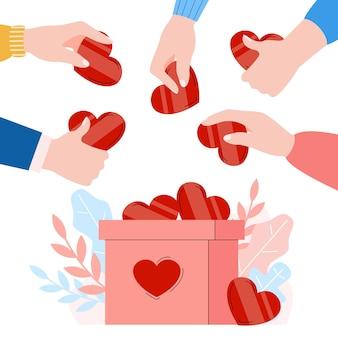 Banner con le mani che mettono i cuori nell'illustrazione vettoriale dei cartoni animati della scatola delle donazioni