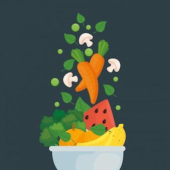 Banner con cibo sano nella ciotola, cibo sano concetto