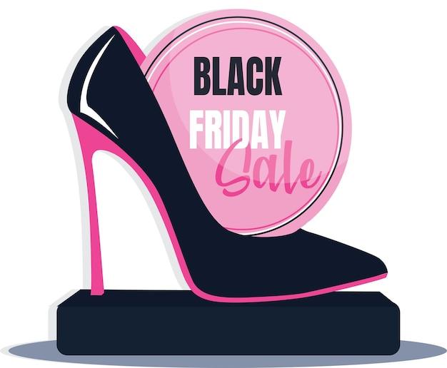 Banner con scarpe col tacco alto e slogan vendita venerdì nero. illustrazione vettoriale. scarpe rosa nere.