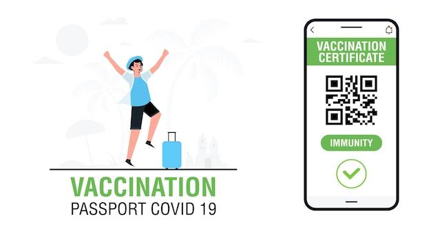 Banner con certificato di vaccinazione digitale internazionale per la libera circolazione e viaggi