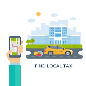Banner con la macchina taxi giallo in città. mano che tiene il telefono con l'app mobile del servizio taxi. paesaggio urbano, hotel sullo sfondo. illustrazione vettoriale piatto.