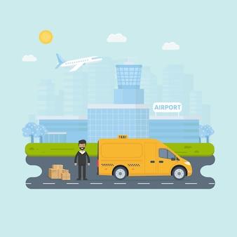 Banner con la macchina taxi giallo in città. concetto di servizio di taxi pubblico. paesaggio urbano, aeroporto sullo sfondo. illustrazione vettoriale piatto.