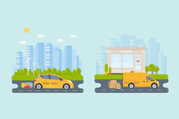 Banner con la macchina taxi giallo in città. concetto di servizio di taxi pubblico. paesaggio urbano, aeroporto, hotel, negozio sullo sfondo. illustrazione vettoriale piatto.