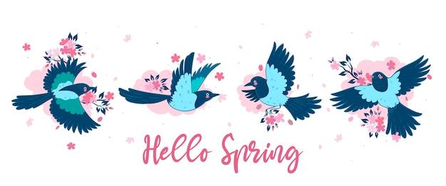Banner con gazze e fiori di ciliegio. iscrizione ciao primavera.