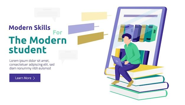 Banner con studente maschio che studia con laptop e libri