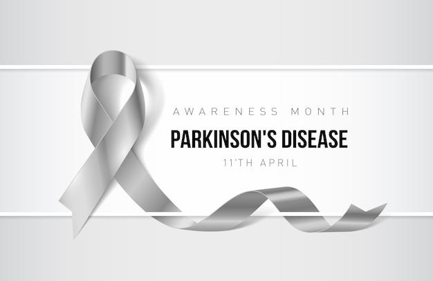 Banner con nastro realistico di consapevolezza della malattia di parkinson