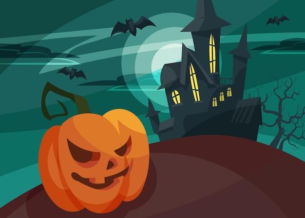 Banner con testa di zucca sullo sfondo del castello. cartolina di halloween in stile cartone animato.