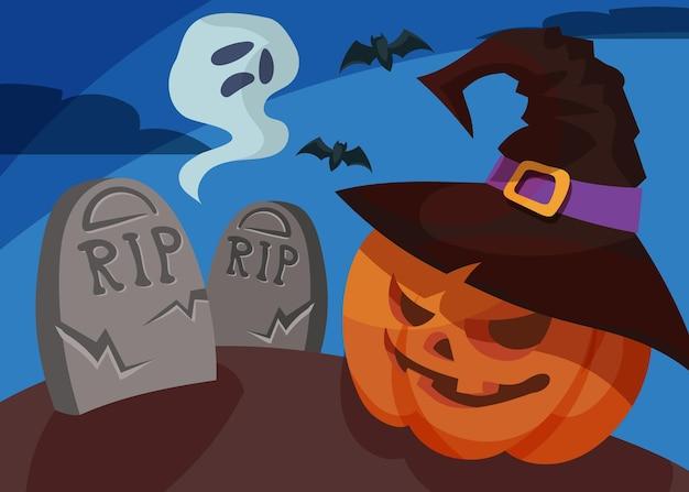 Banner con testa di zucca e fantasma. cartello di halloween in stile cartone animato.
