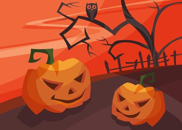 Banner con teste di zucca al tramonto sanguinoso. cartello di halloween in stile cartone animato.