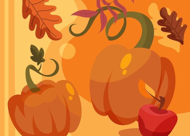 Banner con zucche e mele. disegno della cartolina del giorno del ringraziamento in stile cartone animato.