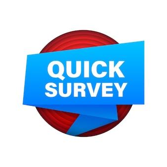 Banner con sondaggio rapido. web design. illustrazione di riserva di vettore.