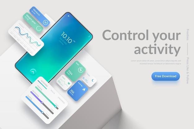 Banner con telefono cellulare realistico su podio cubo ed elementi dell'interfaccia dell'app fitness fitness