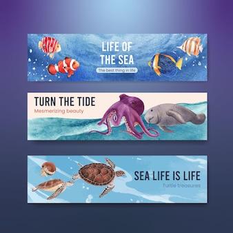 Banner con illustrazione dell'acquerello di disegno di concetto di vita di mare