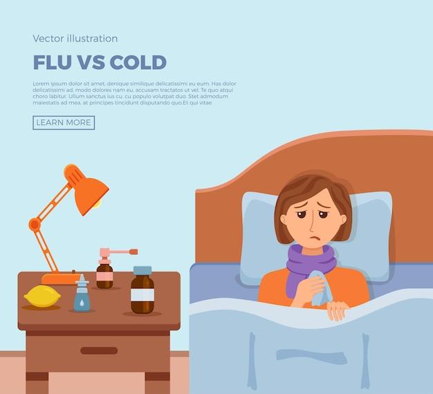 Striscione con ragazza malata a letto con i sintomi del raffreddore