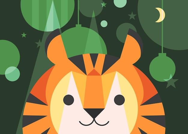 Banner con tigre e decorazioni natalizie. cartolina di vacanza design in stile piatto.