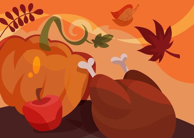 Banner con piatto tradizionale del ringraziamento. cartolina di vacanza in stile cartone animato.