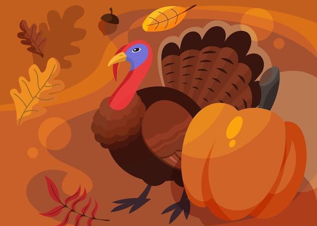 Banner con tacchino e zucca. disegno della cartolina del giorno del ringraziamento in stile cartone animato.