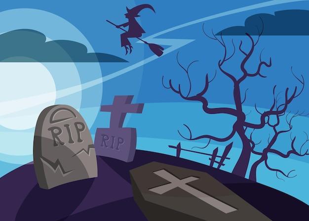 Banner con strega che sorvola il cimitero. cartello di halloween in stile cartone animato.