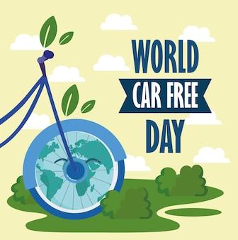 Banner della giornata mondiale senza auto