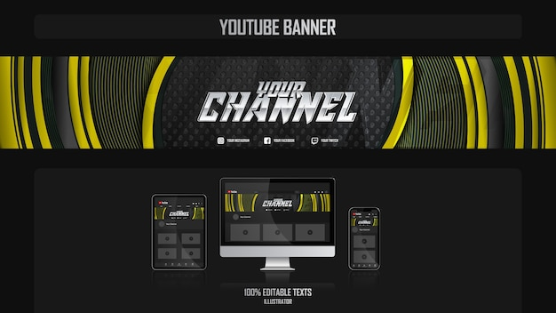 Banner per canale youtube con il concetto di business