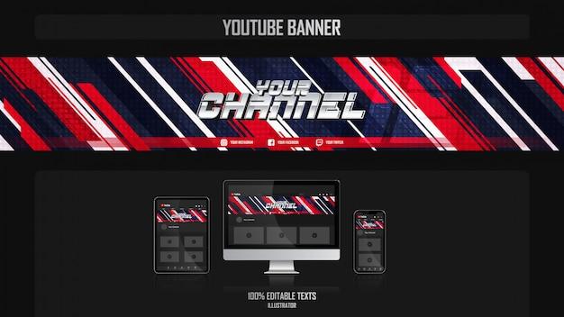 Banner per il canale youtube con il concetto dinamico