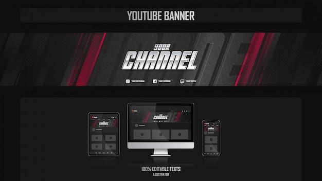Banner per il canale youtube con il concetto di giocatore Vettore Premium