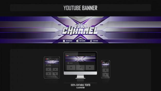 Banner per canale youtube con il concetto di giocatore