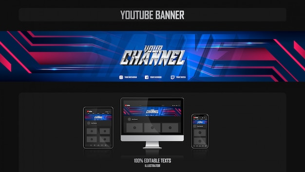 Banner per canale youtube con il concetto di notte
