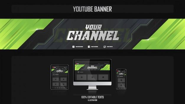 Banner per il canale youtube con il concetto sport