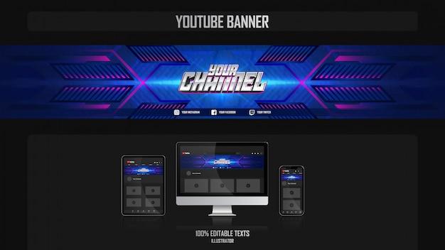 Banner per canale youtube con il concetto di tecnologia