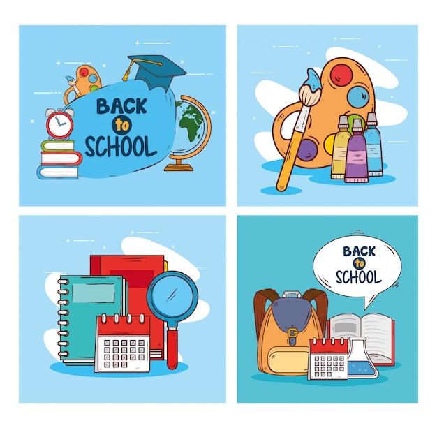 Striscioni di ritorno a scuola, con forniture educative