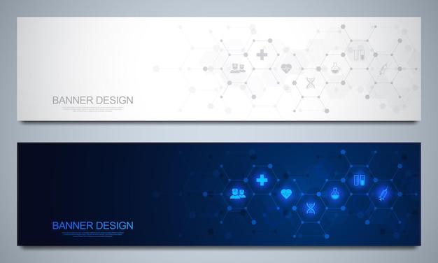 Modello di progettazione di banner per la decorazione sanitaria e medica con simboli e icone piatte