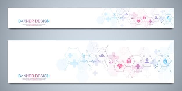 Modello di progettazione di banner per icone e simboli piatti sanitari e medici